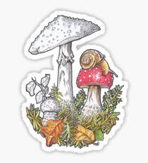 Mushrooms and a snail - 4erta Sticker