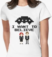 I Want To Believe 8bit Women's Fitted T-Shirt