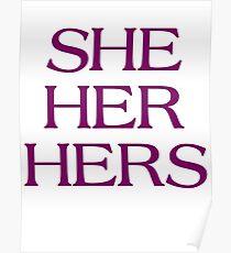 Pronouns - SHE / HER / HERS - LGBTQ Trans pronouns tees Poster