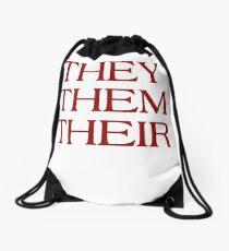 Pronouns - THEY / THEM / THEIR - LGBTQ Trans pronouns tees Drawstring Bag