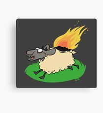 Flaming Sheep (White) Canvas Print