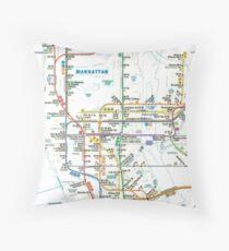 MTA-NYC-Manhattan Subway Line/Map Throw Pillow