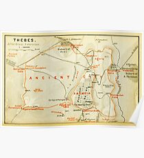 Vintage Map of Thebes Egypt (1894) Poster