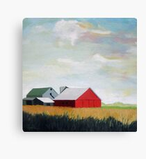 Country Farm Landscape rural Red Barn Canvas Print
