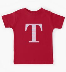 Letter T Blue And Pink Dots And Dashes Monogram Initial Kids Clothes