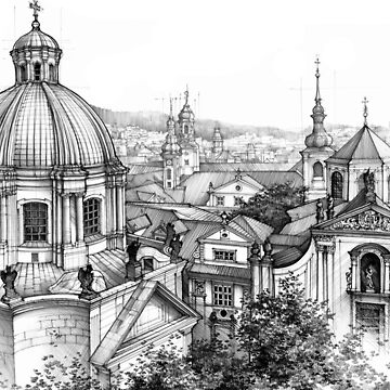 Prague over the rooftops by kkmiecikart