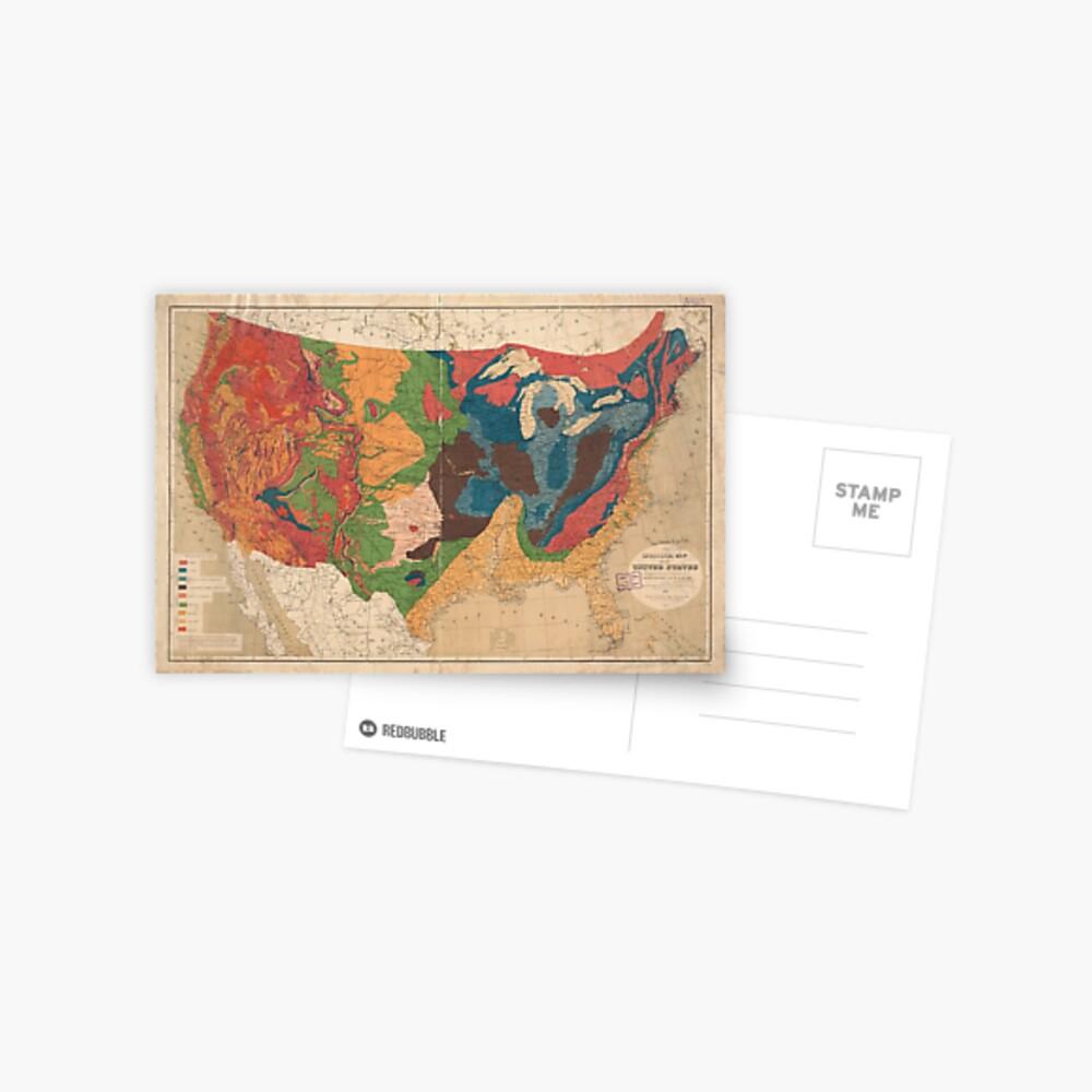 Vintage United States Geologische Karte (1872) Postkarte