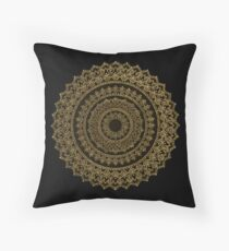 Black and Gold Mandala Throw Pillow