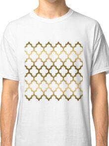 Gold And White Ikat Quatrefoil Geometric Pattern Classic T-Shirt