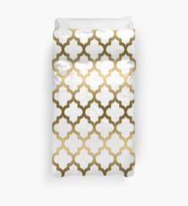 Gold And White Ikat Quatrefoil Geometric Pattern Duvet Cover