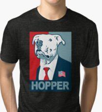 Feel The Hopper (Red White and Hopper) Smaller Print Tri-blend T-Shirt