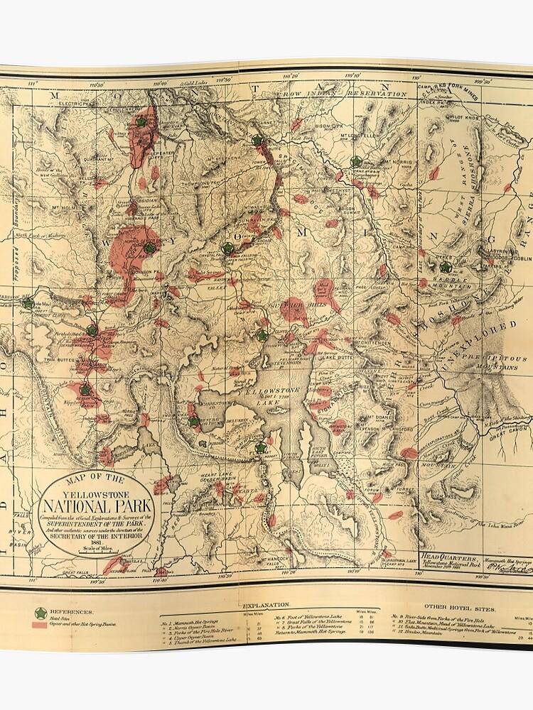 Yellowstone Karte.Vintage Karte Von Yellowstone National Park 1881 Poster