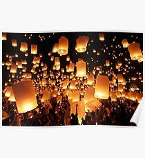 Sky lanterns during Yi Peng in Thailand Poster