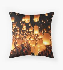 Sky lanterns during Yi Peng in Thailand Throw Pillow