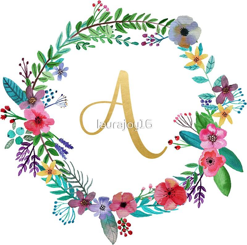 u0026quot floral initial wreath monogram a u0026quot  stickers by laurajoy16