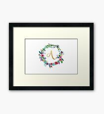 Floral Initial Wreath Monogram A Framed Print