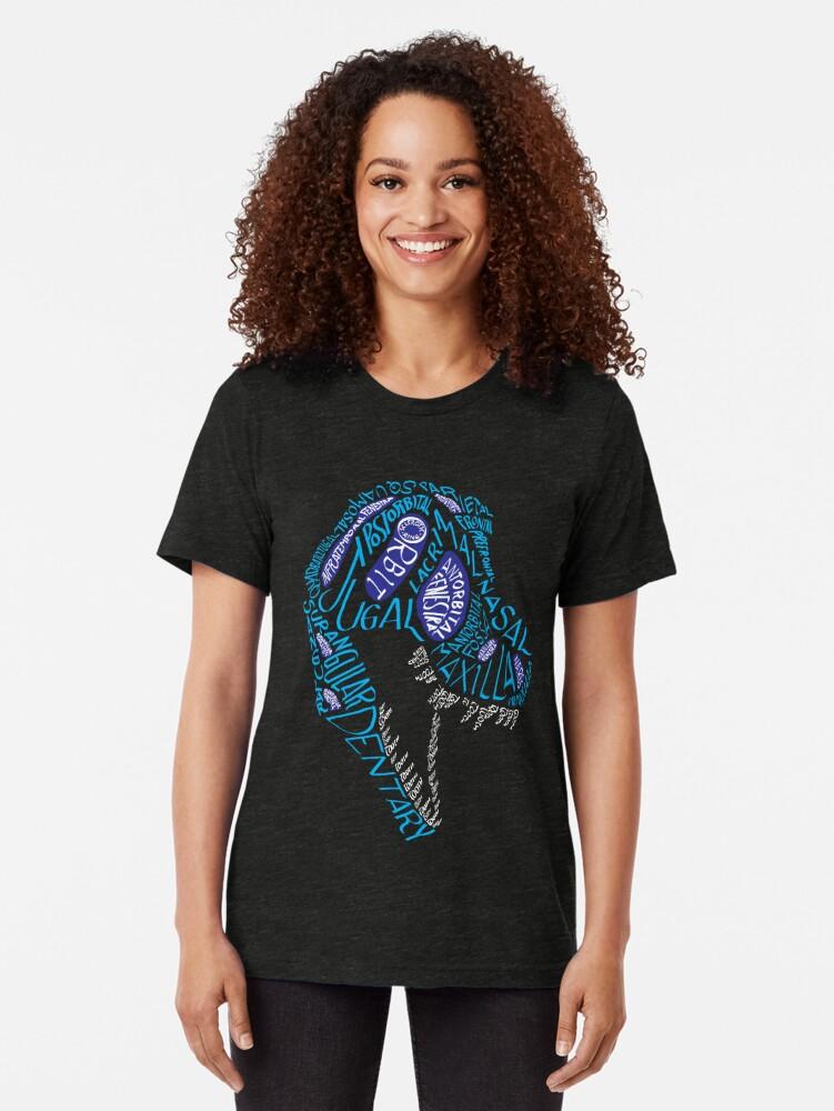 Alternate view of Color Calligram Tyrannosaur Skull Tri-blend T-Shirt