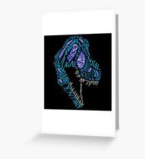 Color Calligram Tyrannosaur Skull Greeting Card