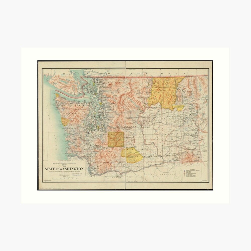 image about Printable Map of Washington State named Classic Map of Washington Nation (1897) Artwork Print