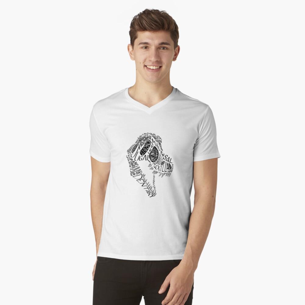 Black Calligram Tyrannosaur Skull V-Neck T-Shirt