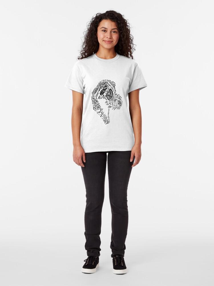 Alternate view of Black Calligram Tyrannosaur Skull Classic T-Shirt