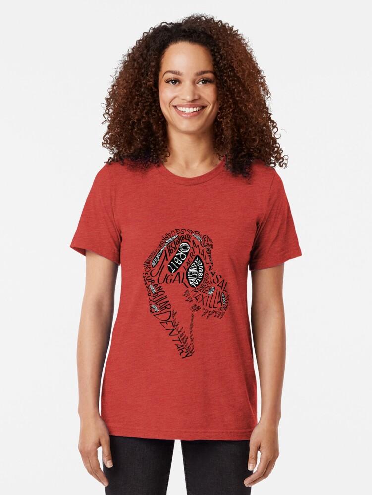 Alternate view of Black Calligram Tyrannosaur Skull Tri-blend T-Shirt