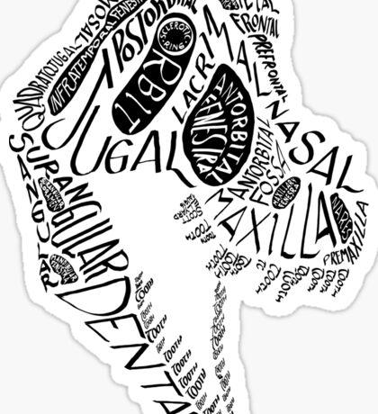 Black Calligram Tyrannosaur Skull Sticker
