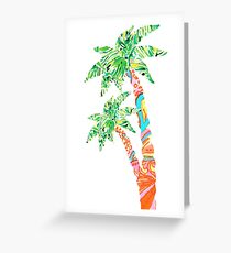 Palm Tree in Lilly Pulitzer Print Greeting Card