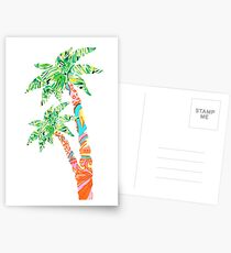 Palm Tree in Lilly Pulitzer Print Postcards