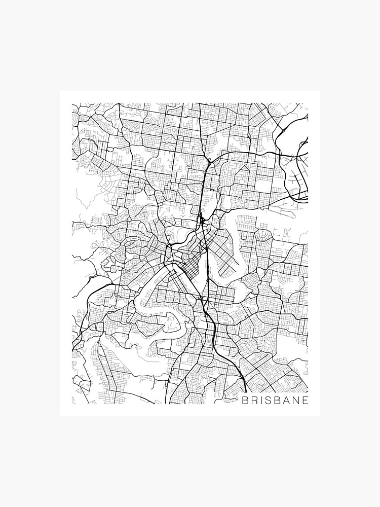 Brisbane Map Australia.Brisbane Map Australia Black And White Photographic Print