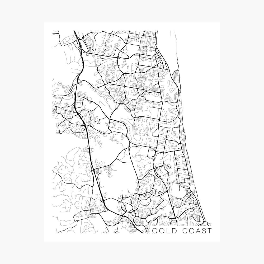 Australia Map Black And White.Gold Coast Map Australia Black And White Photographic Print