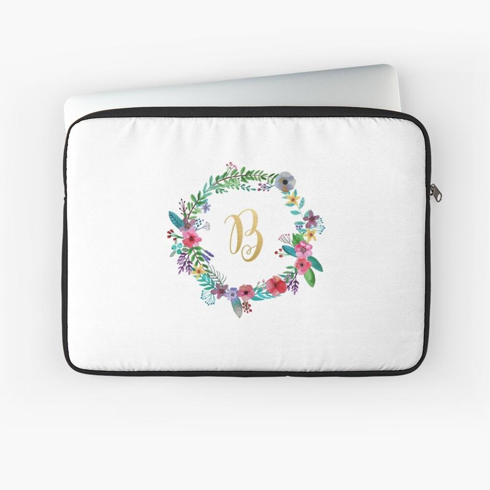 Floral Initial Wreath Monogram B Laptop Sleeve
