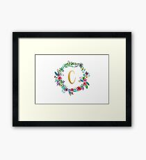 Floral Initial Wreath Monogram C Framed Print