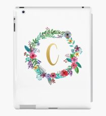 Floral Initial Wreath Monogram C iPad Case/Skin