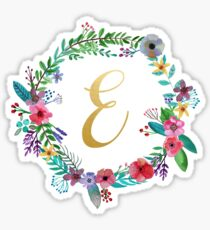 Floral Initial Wreath Monogram E Sticker