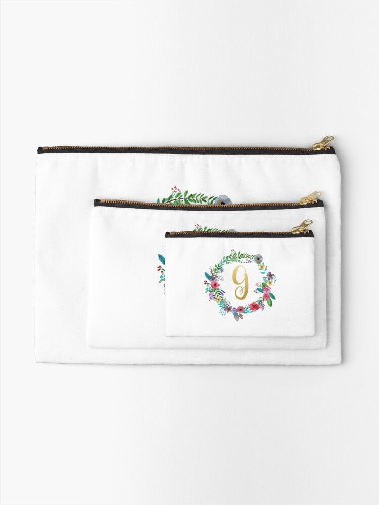 Alternate view of Floral Initial Wreath Monogram G Zipper Pouch