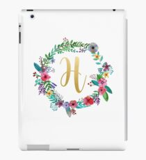 Floral Initial Wreath Monogram H iPad Case/Skin