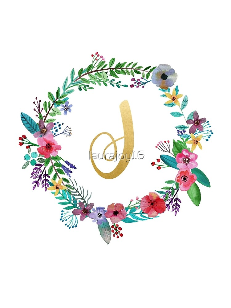 Floral Initial Wreath Monogram J by laurajoy16