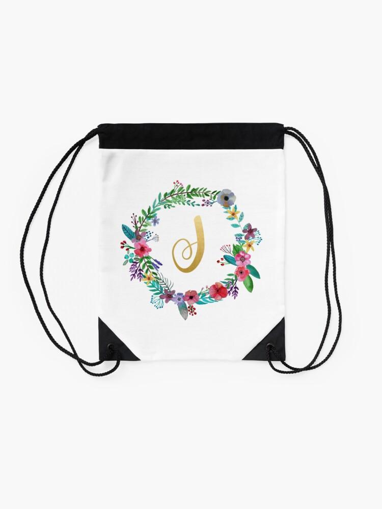 Alternate view of Floral Initial Wreath Monogram J Drawstring Bag