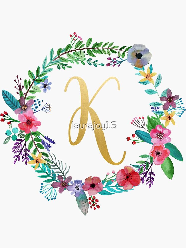 Guirnalda inicial floral Monogram K de laurajoy16