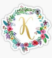 Floral Initial Wreath Monogram K Sticker
