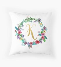 Floral Initial Wreath Monogram K Throw Pillow