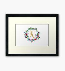 Floral Initial Wreath Monogram K Framed Print