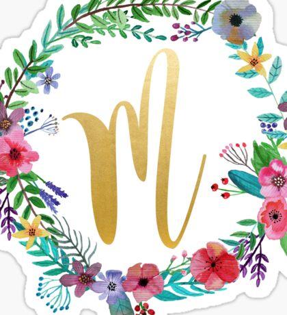 Floral Initial Wreath Monogram M Sticker