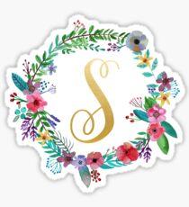 Pegatina Guirnalda inicial floral Monogram S