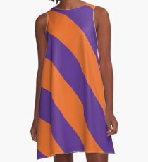 Clemson South Carolina Purple & Orange Team Color Stripes A-Line Dress