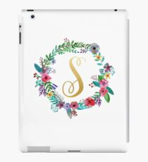 Floral Initial Wreath Monogram S iPad Case/Skin