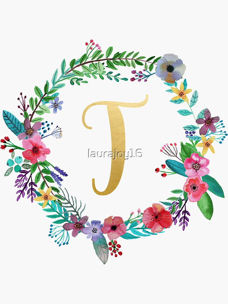Floral Initial Wreath Monogram T by laurajoy16