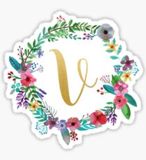 Floral Initial Wreath Monogram V Sticker