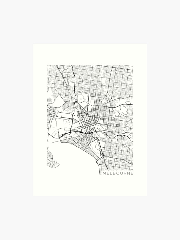 Australia Melbourne Map.Melbourne Map Australia Black And White Art Print